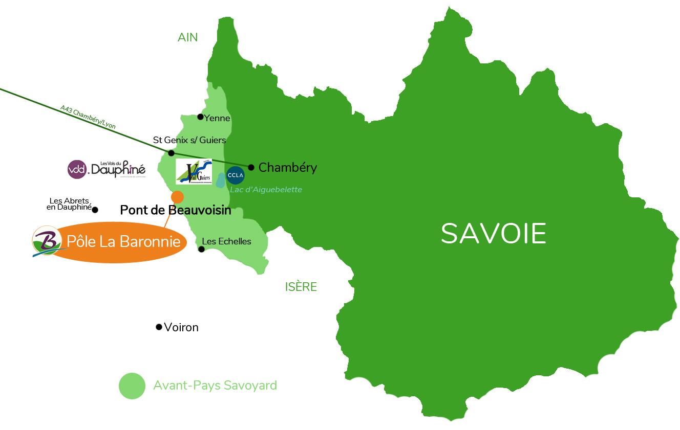 Situation de la zone commerciale La Baronnie dans l'Avant-Pays Savoyard, en Savoie - Communauté de communes Val Guiers